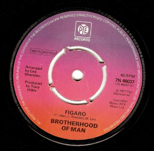 BROTHERHOOD OF MAN Figaro Vinyl Record 7 Inch Pye 1977.